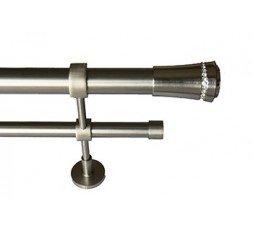 Conjunto Basic cristal 3 doble soporte estandar acero inox.