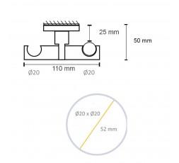 Soporte Doble barra techo cilindro-medidas